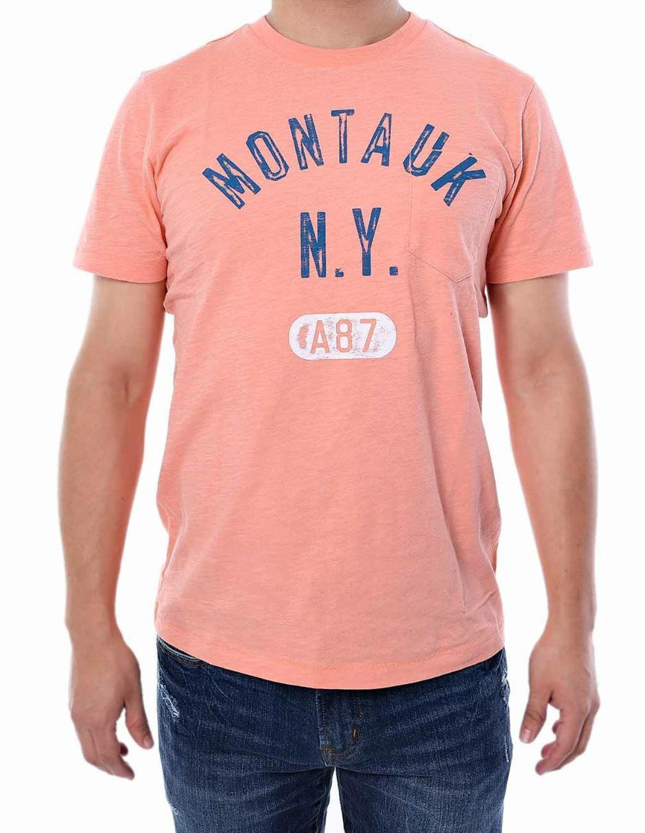 Aéropostale Montauk Playera con Logotipo Cuello Redondo Naranja