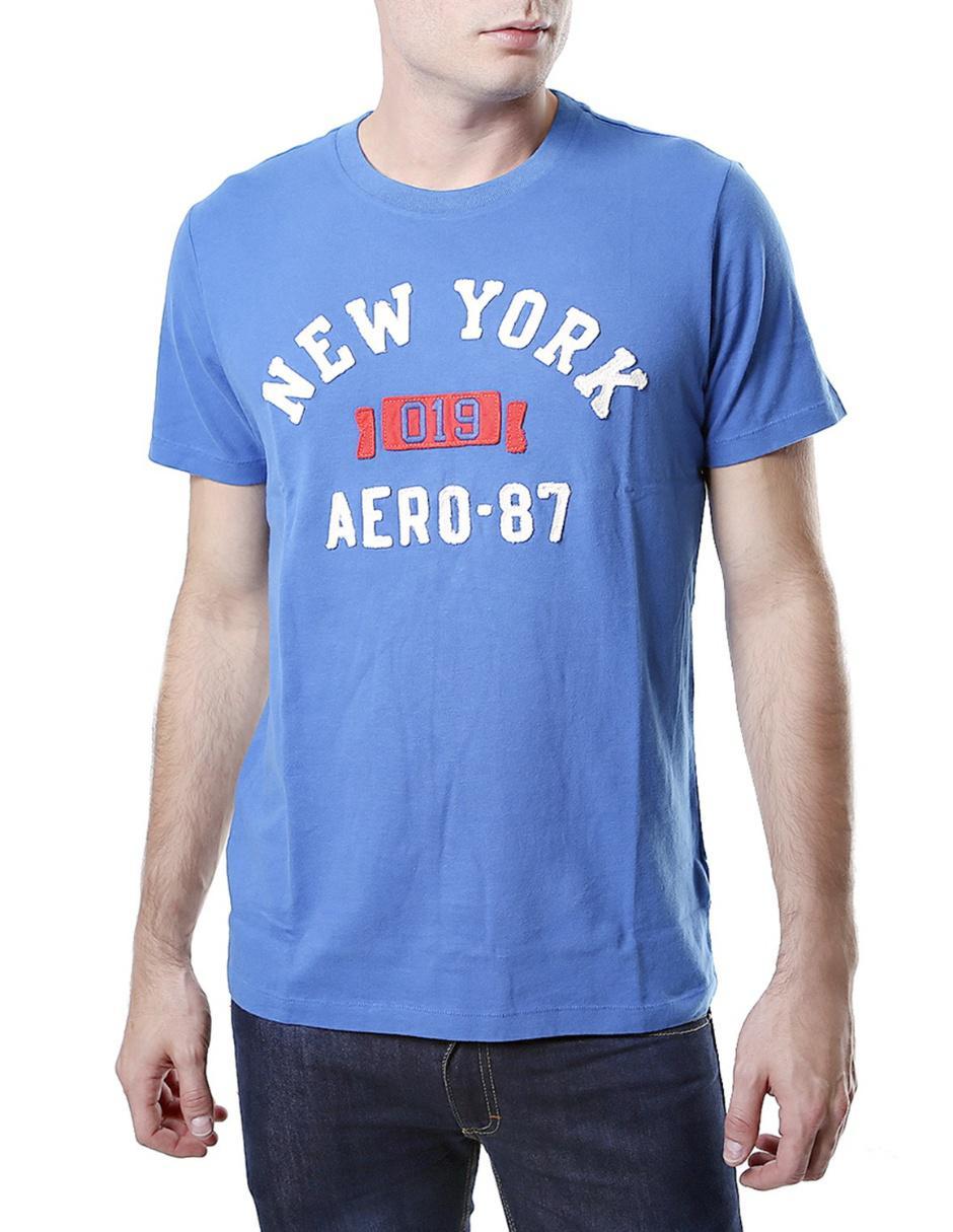 Aéropostale Playera de Cuello Redondo con Logotipo Azul