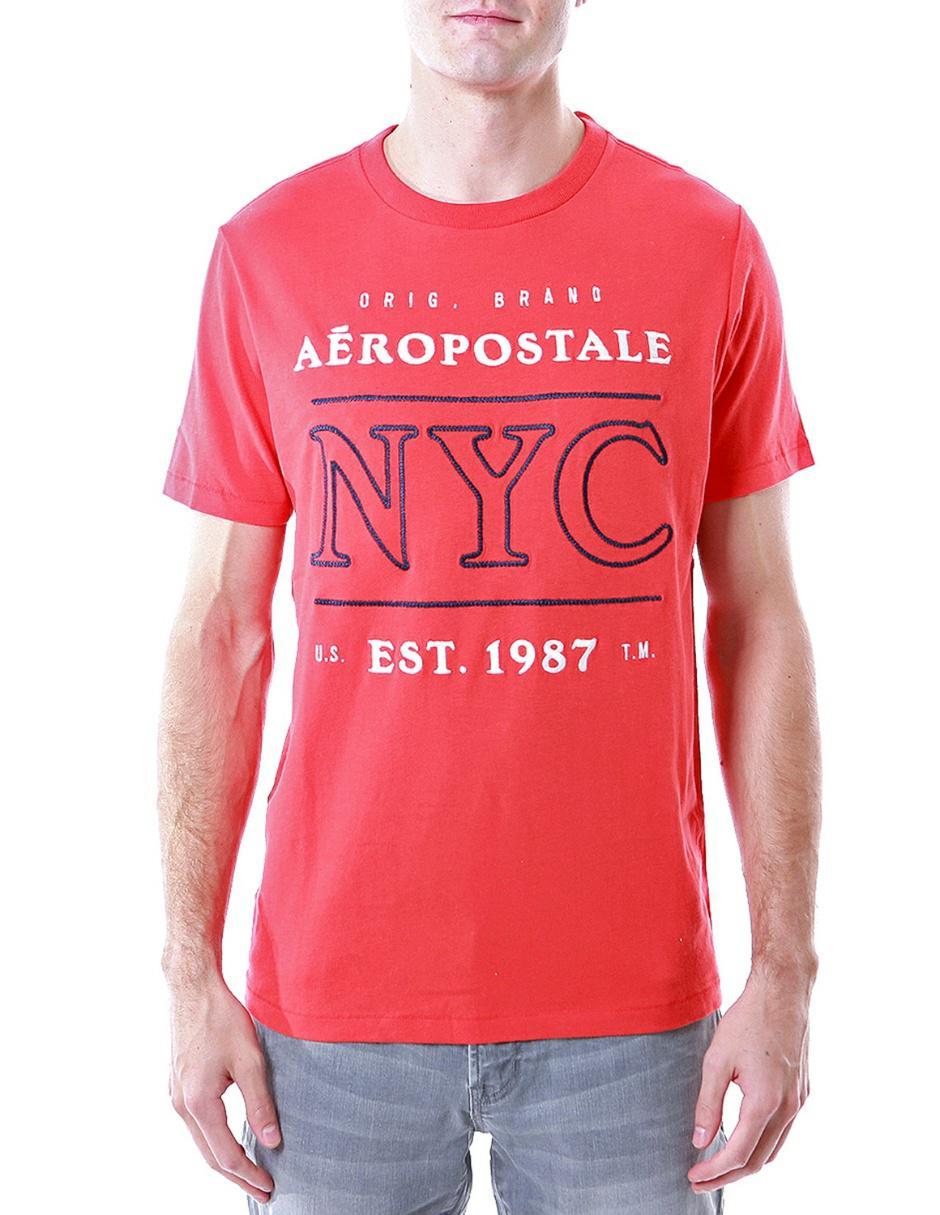 Aéropostale Playera con Logotipo Cuello Redondo Roja