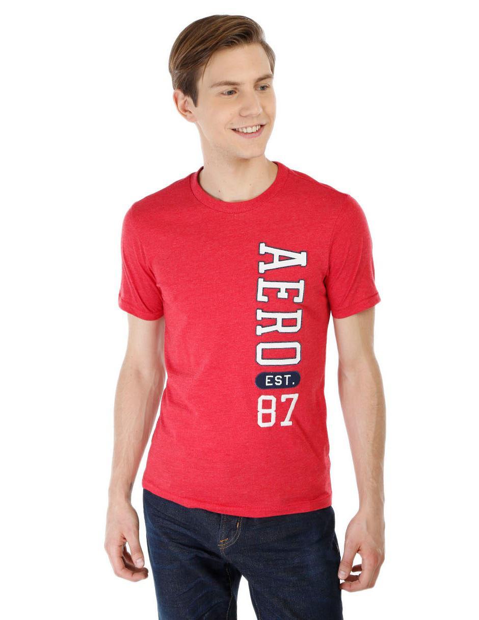Playera Aéropostale cuello redondo algodón roja cc1350054716d